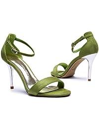 Sandalias de tacón alto femenino de verano de tacón alto sexy zapatos simples ( Color : Verde , Tamaño : 39 )