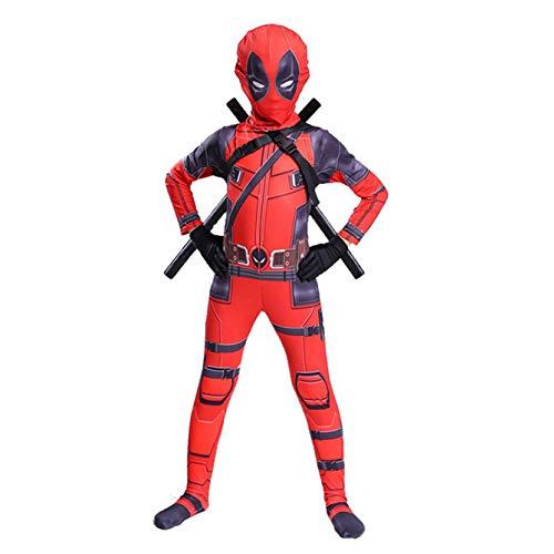 Girl Kostüm Einfach Marvel - ZHANGQI Deadpool Cosplay Kostüme Spider-Man Skinny Kleidung Strumpfhosen Anime Bühne Kostüm Geschenk Für Erwachsene/Kinder Größe Optional,Red-140