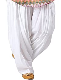 White Full Punjabi Patiala 100% Cotton Bottom Salwar For Kurta Top Free Size Pant