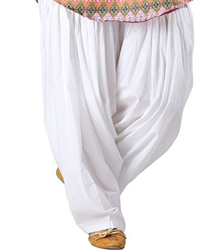 SPV Women's Cotton Patiala Salwar (SPV_0003_White_Free size)