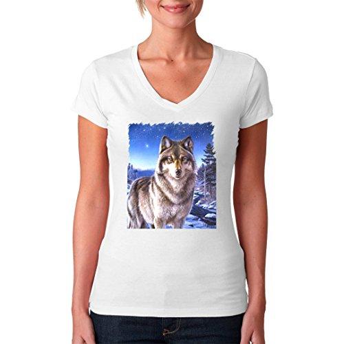 Fun Girlie V-Neck Shirt - Wolf im Polarlicht by Im-Shirt Weiß
