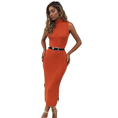 Moresave - Robe - Cocktail - Uni - Sans Manche - Femme - orange - Medium