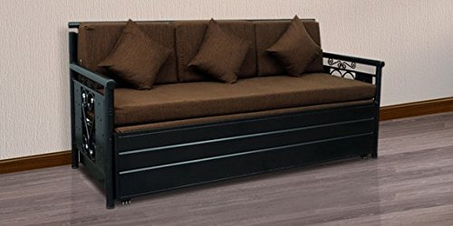 Royal Interiors Matte Finish Metal Sofa Cum Bed with Hydraulic Storage (King Size, Black and Brown)