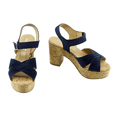 Jenifer - Sandales Bleu Compensée Liege - Angelina N-Bleu
