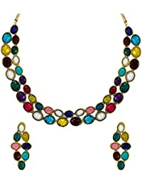 Zaveri Pearls Multicolor Sleek Ethnic Necklace Set For Women - ZPFK5983