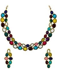 Zaveri Pearls Multicolor Sleek Ethnic Necklace Set for Women - ZPFK5983