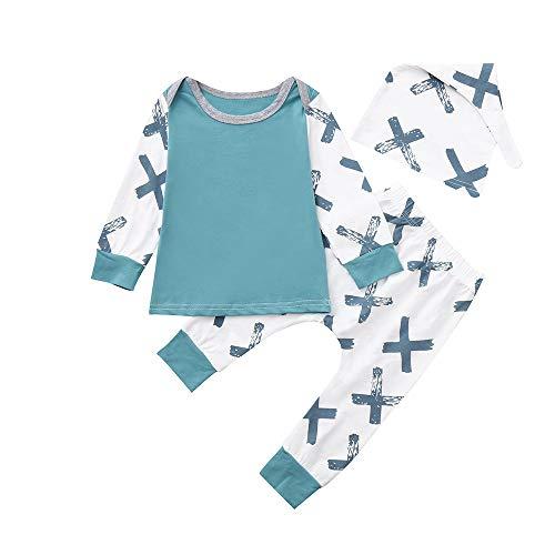 Babykleidung Set,Beikoard Baby Long Sleeve Gabel T-Shirt Top Hosen Hut 3 Stück Set Outfits Kleidung Set (0M-18M)