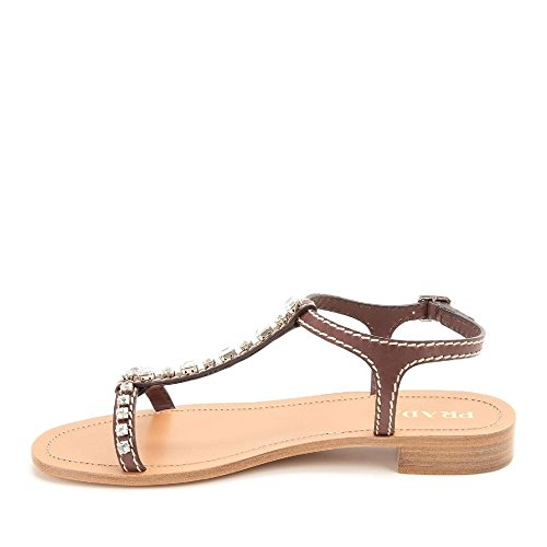 Sandales salomé talon bas Prada en cuir teck - Code modèle: 1X630F 248 F0562 Marron