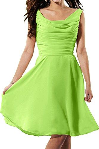 Promgirl House Damen A-Linie U-Ausschnitt Kurz Chiffon Brautjungfern Kleider Ballkleid Cocktailkleid Grün