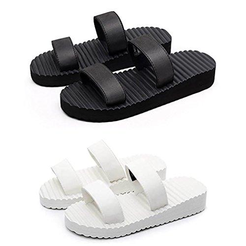 SHANGXIAN Plage d'été femmes tongs chez vous en acheter un en obtenir un gratuitement Black/White