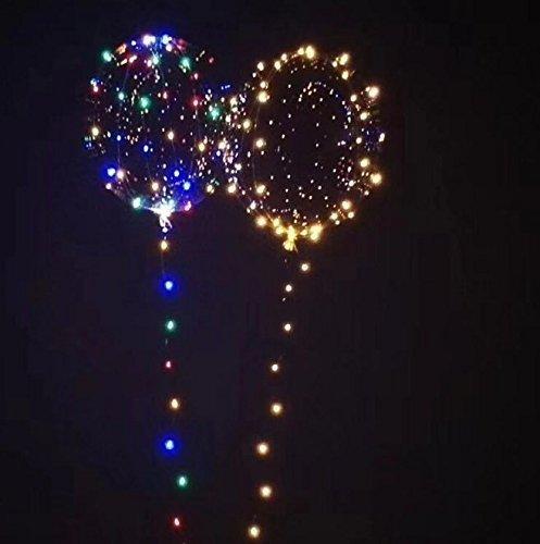 UChic 5Set / lot LED-heller Ballon 18-Zoll leuchtende transparente Runde leuchten Ballon, 3 Meter LED-Lichterkette, blinkende multicolor String Licht für alle Festivals Party Dekoration Geschenk (Blinkender Ballon Leuchten)