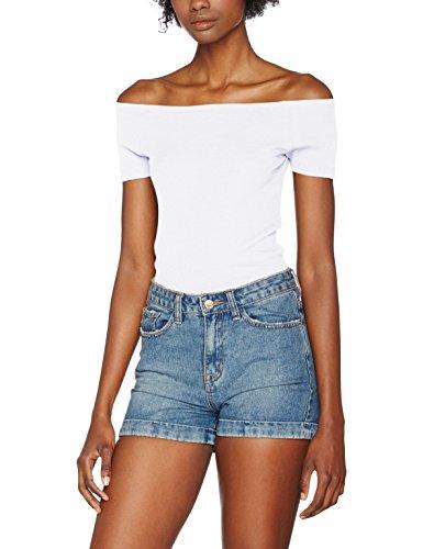 Urban Classics TB1500 Damen T-Shirt Ladies Off Shoulder Rib Tee Weiß (White 220), Medium (Attitude-t-shirt Cool)