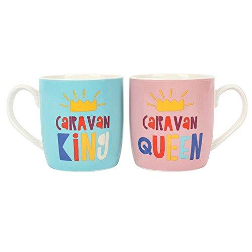 Set of 2 Caravan King and Queen Mugs