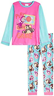 Masha and the Bear Pijama Niña, Pijama Niña Invierno con Masha y Oso, Conjunto 2 Piezas Camiseta Manga Larga y