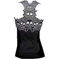 d'Rockabilly Punk Rock Baby Camiseta de Tirantes para Mujer, diseño de Calaveras Efecto Tatuaje, Color Negro Negro 40