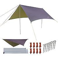 NATUREFUN Multifunctional 3 * 3m Hammock Rain fly Waterproof Tent Tarp Outdoor Camping Shelter Beach Sunshade Waterproof Picnic Mat Survival Gear-Rip Stop Snowproof Easy Setup
