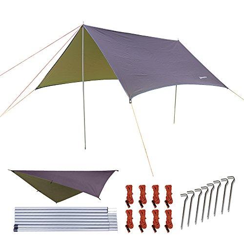 NATUREFUN Hamac multifonctionnel 3 * 3m Toile de tente imperméable à l'eau Toile de tente extérieure Abri de Camping à l'épreuve de Toile de Plage Tapis de Pique-nique à Survival Facile à Installer
