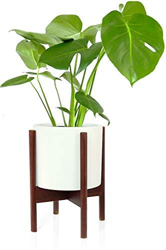 Fox & Fern Mitteljahrhundert moderner Pflanzenständer, Kirschholz, ohne Pflanztopf aus Keramik, Weiß Fits 8