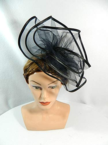 Schwarze Satin Derby Hat - Fascinator schwarz gross Tüll Satin Anlasshut