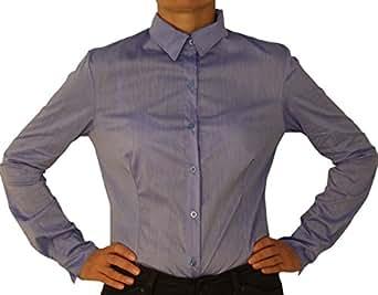 5259 Damen Bodybluse, Blusenbody, langarm, tailliert, einfarbig, hell blau S/36!