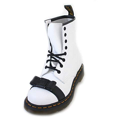 Dr. Martens Women's 1460 Crackle Patent Lamper & Smooth Leather Boot White Size 5