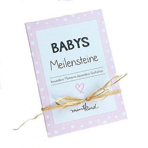 mintkind Meilensteinkarte Baby Rosa   Kartenset für Babys erstes Lebensjahr   Tolle Geschenkidee zur Geburt
