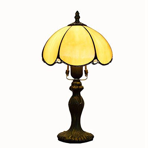 WMING 8 Zoll Tiffany Tischlampe Retro-Stil Bunt Glas Handgefertigte Klassische Antike Muster Schlafzimmer Lampe Nachtlampe