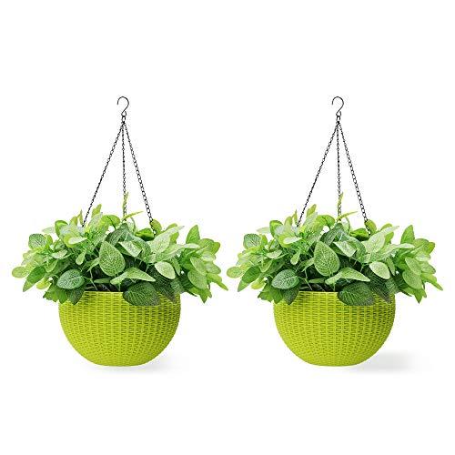 Worth Garden 2 Stück Rund Blumenampel aus Kunststoff Pflanzgefäß mit Hängekette Haken Hängeampel Pflanzampel (26,5 cm Durchmesser, Blumen Nicht enthalten, Grün)