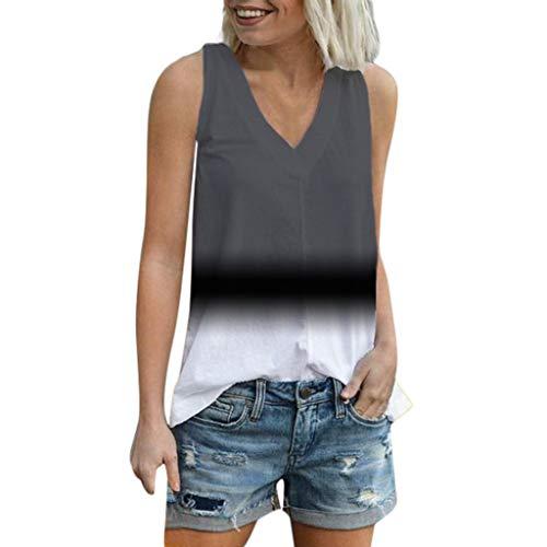Damen tshirt Binggong Sommer Kurzarm T-Shirt V-Ausschnitt Blusen Beiläufig Farbverlauf Shirt Ärmellos Lose Oberteil Tees Kurzarmshirt -