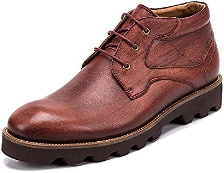 LYZGF Männer Herbst Booties Casual Mode Britischen Schnuumlrsenkel Lederstiefel