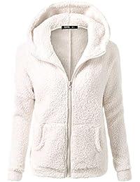 Odejoy Donna Invernale Giacca Manica Lunga Elegante con Cappuccio Giubbotto  Felpe Allentato Hoodie Trench Coat Irregolare ceda0b8332b