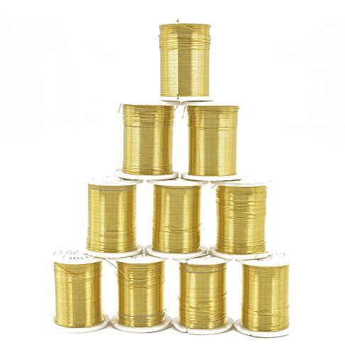 10 Rollen Kupferfaden Bastelschnur Dekofaden Metallic Schmuckband 0.3mm Gold