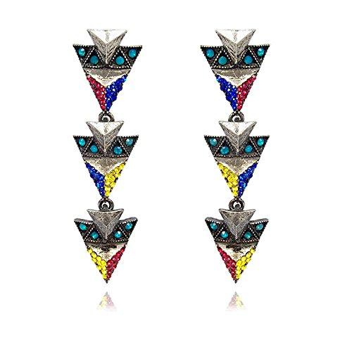 Damen-Ohrringe Silber Blau Rot Gelb Colour Blocking Ohrhänger NOBEL SCHMUCK