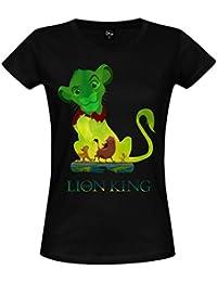 Lion King Women T-Shirt Simba Timon Pumbaa Green Jungle Disney Cotton Black