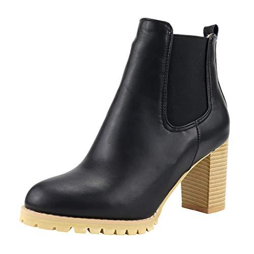 Ag&t⊙◡⊙ stivaletti da donna, stivaletti da donna con tacco grosso stivaletti con cinturino alla caviglia con elastico laterale per donna