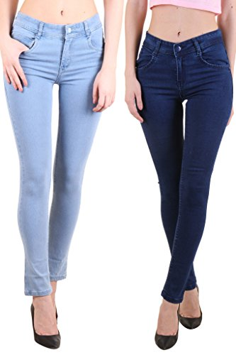 Routeen Women's Denim Jeans Skinny Fit Combo (Pack Of 2 Pants)