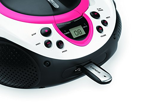 Lenco SCD-38 CD Boombox with MP3 USB Playback and FM Radio - Pink