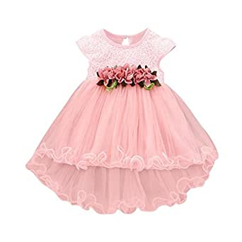 1437b801eb8 Lolittas Toddler Baby Girls Summer Princess Dress,Lace Floral Print Tulle  Party Wedding Bridesmaid Christening
