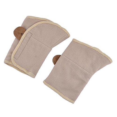 DealMux Fleece Sporter Warm Non-slip Exercise Patella Knee Protector Support Beige (Knee Fleece Warmers)