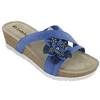 Inblu Wedge Flower Sandals Open Toe Lighweight Leather Insock Soft Womens (UK 5 / EU 38, Jeans)