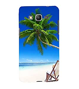 Fiobs Designer Back Case Cover for Samsung Galaxy Grand Prime :: Samsung Galaxy Grand Prime Duos :: Samsung Galaxy Grand Prime G530F G530Fz G530Y G530H G530Fz/Ds (Sun Suraj Surya Beach Water Sea tree)