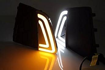Auto Star CAS FOG LIGHT/Lamp DRL Neon Type with Indicator for hyundai Creta (ASCR451) - Set of 2