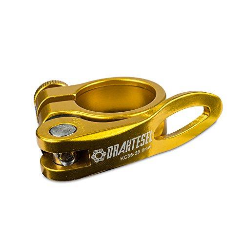 Drahtesel Fahrrad Schnellspanner, Sattelstütze, Sattel-klemme, Sattel-schelle, Klemmring, Sattelstützenklemme, Schnellverschluss in 28,6mm, 30,2mm, 31,8mm, 34,9mm (Gold, 30,2mm) -