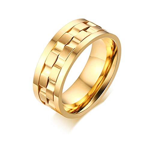 Ring Hochzeitsband Rostfreier Stahl Spinner Verlobungsring Charm Edelstein Ring Männer Schmuck,Gold,8# ()