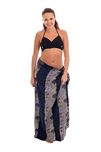 Batik Wickelrock (Großer Sarong Pareo Wickelrock Strandtuch Alte batik 100% Blickdicht Blau Tuch)