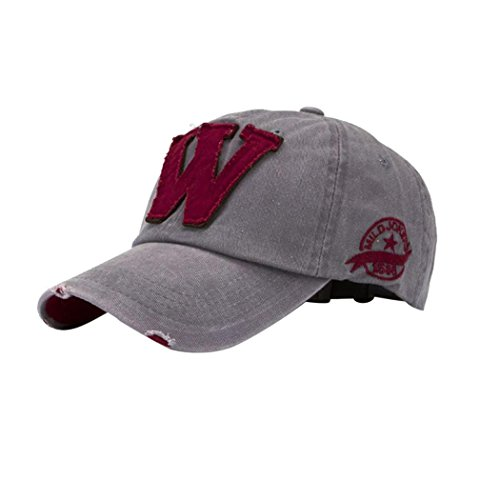 QuickZ SnapBack sombreros Unisex verano letra W Hockey béisbol Gorras Hip Hop gorros (gris)