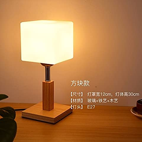 DIDIDD Solid wood glazed bedrooms bedside lamp creative personality study reading light lamps