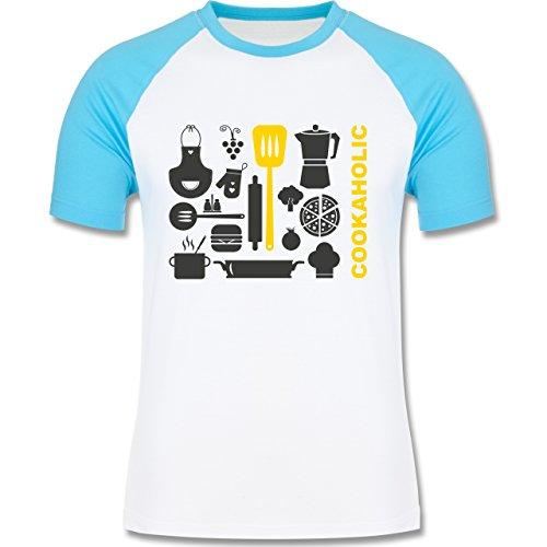 Küche - Cookaholic - zweifarbiges Baseballshirt für Männer Weiß/Türkis