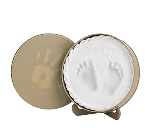 Baby Art - 34120158 - Magic Box - Confezione in metallo con pasta modellabile per calco delle manine o dei piedini bebè - Linea timeless classic