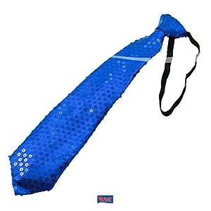 LED azul corbata metálico con lentejuelas Disco para disfraz